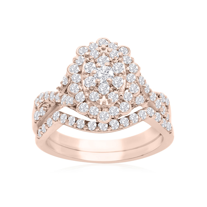 1 Carat Oval Halo Diamond Bridal Ring Set in 14K Rose Gold (3.5 g) (H-I, SI2-I1) by SuperJeweler