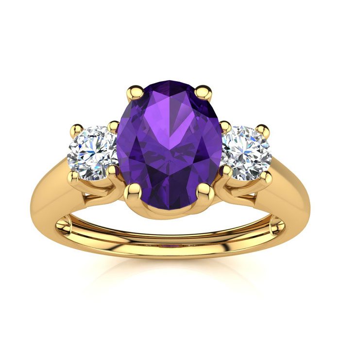 1 Carat Oval Shape Amethyst & Two Diamond Ring in 14K Yellow Gold