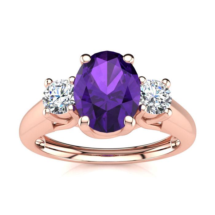 1 Carat Oval Shape Amethyst & Two Diamond Ring in 14K Rose Gold (