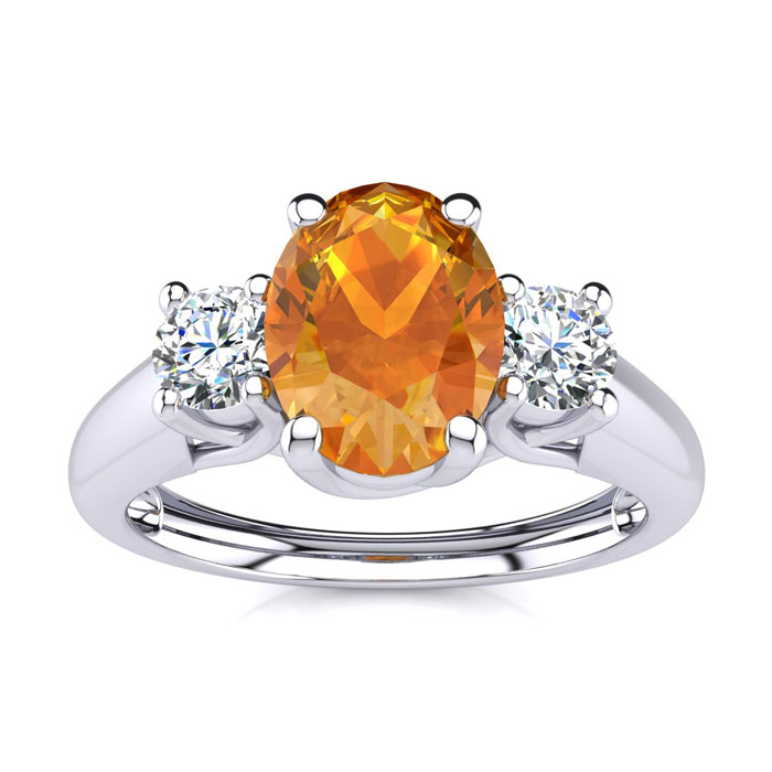 1 Carat Oval Shape Citrine & Two Diamond Ring in 14K White Gold (