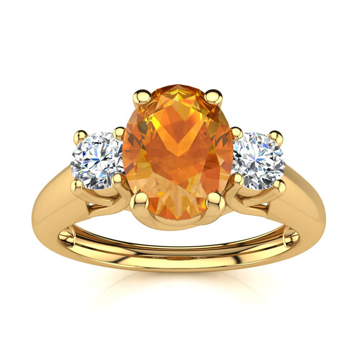 1 Carat Oval Shape Citrine & Two Diamond Ring in 14K Yellow Gold (2.2 g), I/J by SuperJeweler