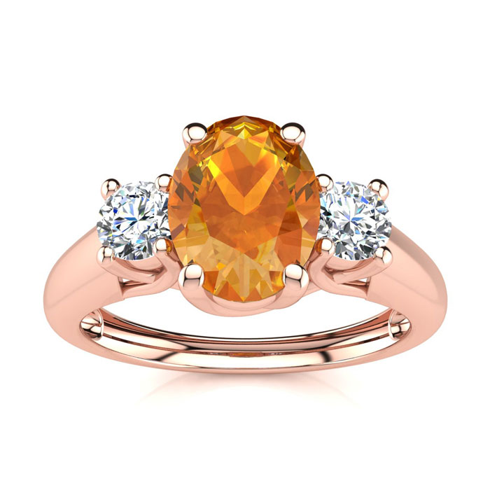 1 Carat Oval Shape Citrine & Two Diamond Ring in 14K Rose Gold (2