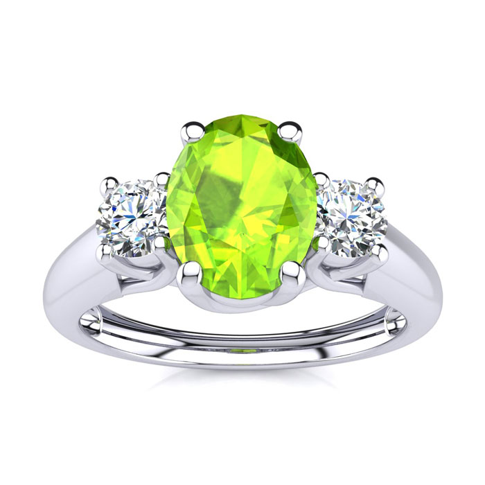 1 Carat Oval Shape Peridot & Two Diamond Ring in 14K White Gold (2.2 g), I/J by SuperJeweler
