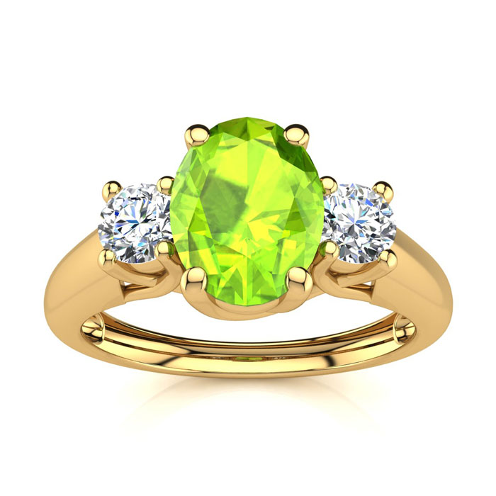 1 Carat Oval Shape Peridot & Two Diamond Ring in 14K Yellow Gold