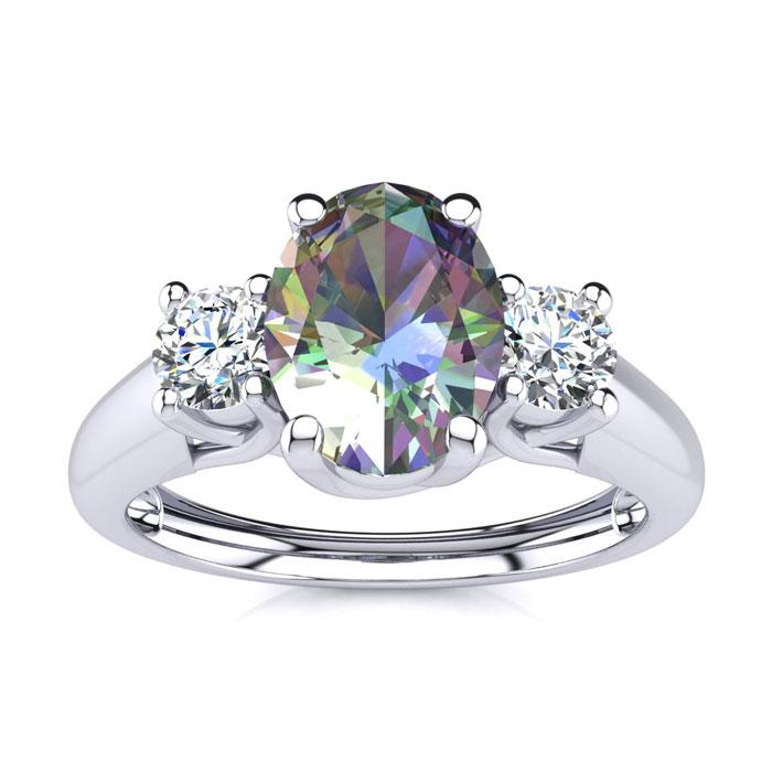 1 1/5 Carat Oval Shape Mystic Topaz & Two Diamond Ring in 14K White Gold (2.2 g), I/J by SuperJeweler