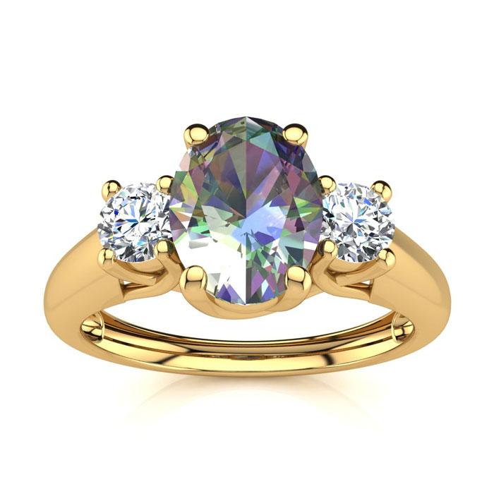 1 1/5 Carat Oval Shape Mystic Topaz & Two Diamond Ring in 14K Yel