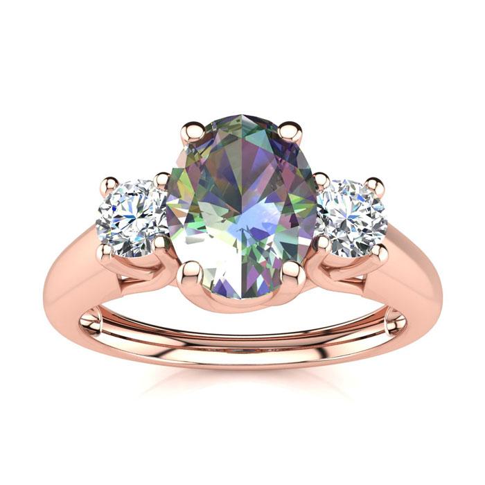 1 1/5 Carat Oval Shape Mystic Topaz & Two Diamond Ring in 14K Ros