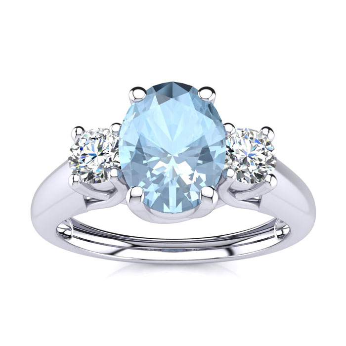 1 Carat Oval Shape Aquamarine & Two Diamond Ring in 14K White Gold (2.2 g), I/J by SuperJeweler