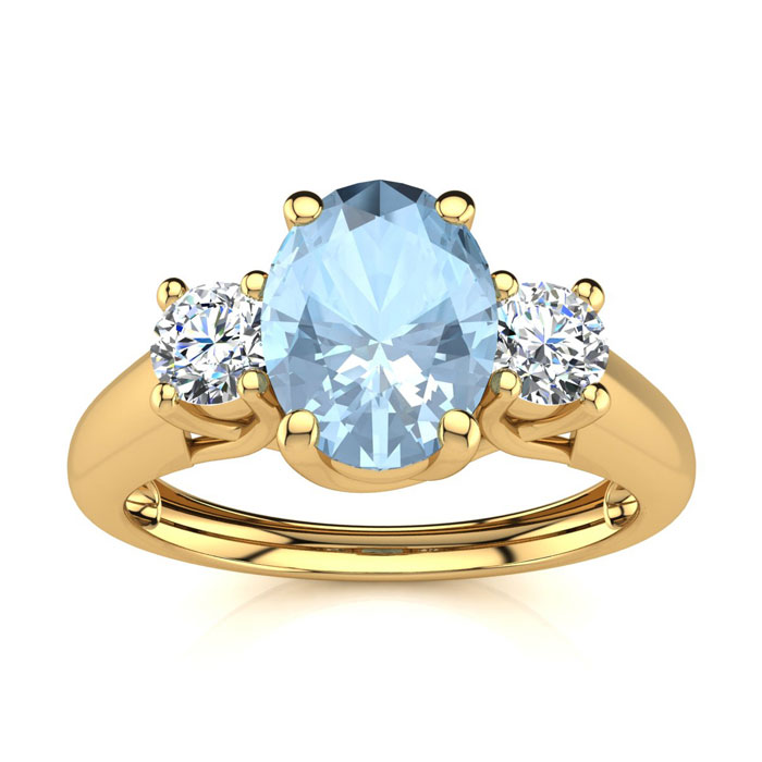 1 Carat Oval Shape Aquamarine & Two Diamond Ring in 14K Yellow Go