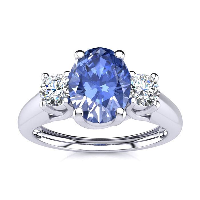 1.15 Carat Oval Shape Tanzanite & Two Diamond Ring in 14K White Gold (2.2 g), I/J by SuperJeweler