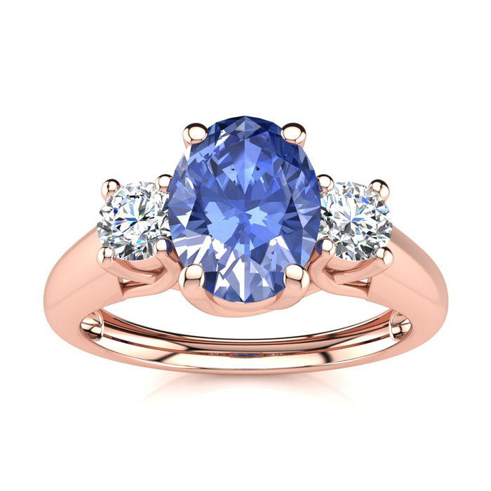 1.15 Carat Oval Shape Tanzanite & Two Diamond Ring in 14K Rose Go