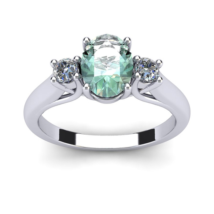 1 Carat Oval Shape Green Amethyst & Two Diamond Ring in 14K White