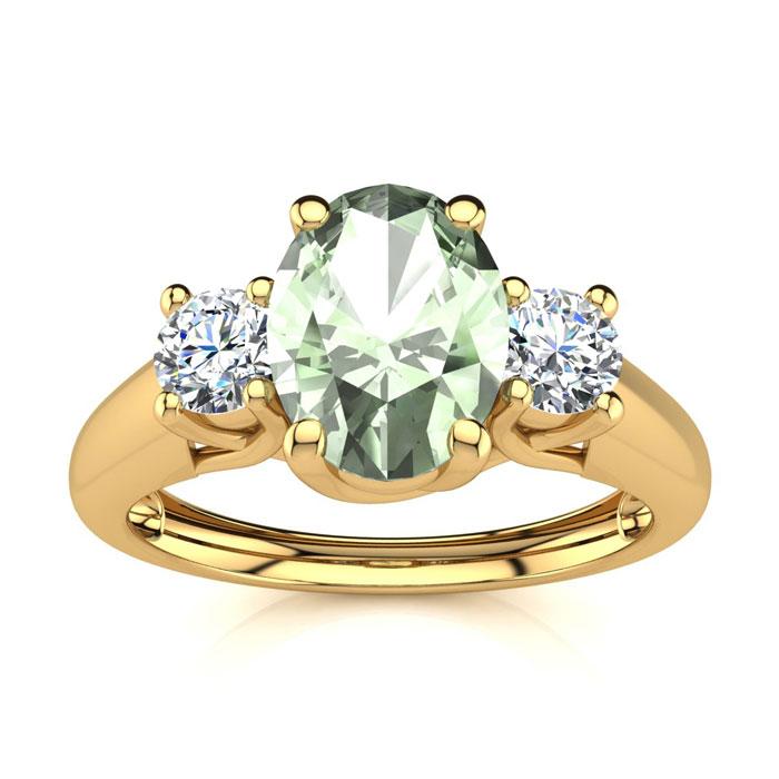 1 Carat Oval Shape Green Amethyst & Two Diamond Ring in 14K Yello