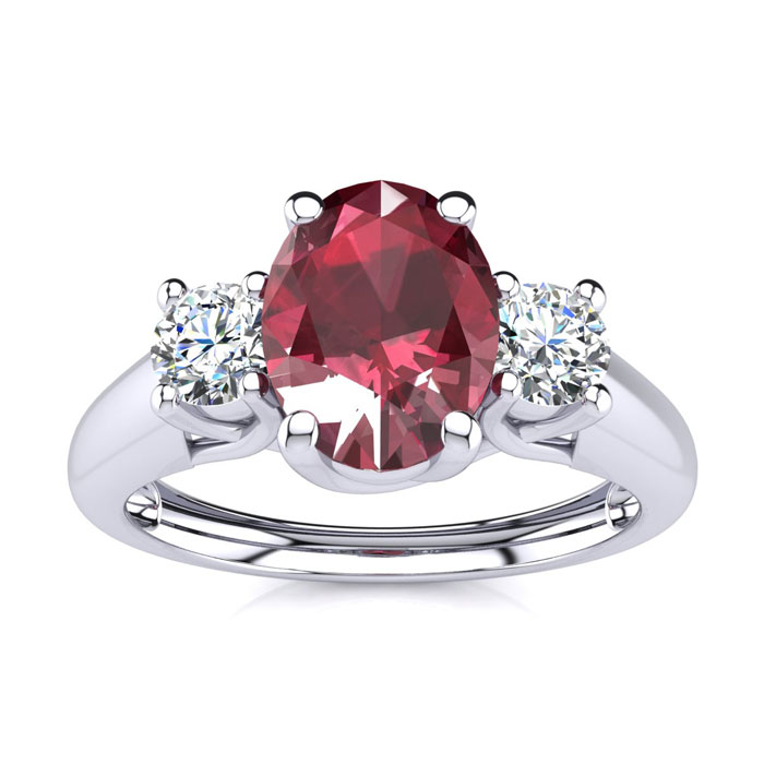 1.15 Carat Oval Shape Ruby & Two Diamond Ring in 14K White Gold (2.2 g), I/J by SuperJeweler