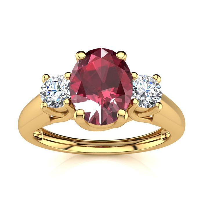 1.15 Carat Oval Shape Ruby & Two Diamond Ring in 14K Yellow Gold
