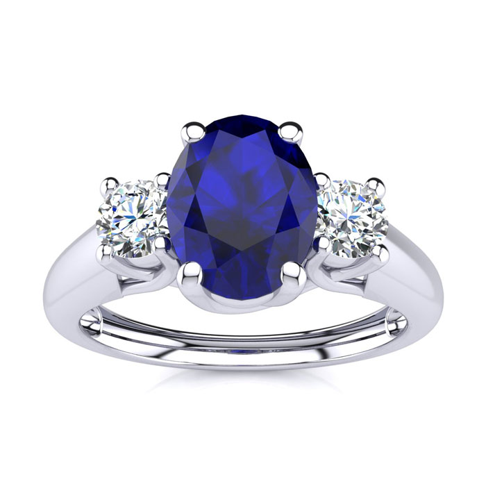 1 1/5 Carat Oval Shape Sapphire & Two Diamond Ring in 14K White G