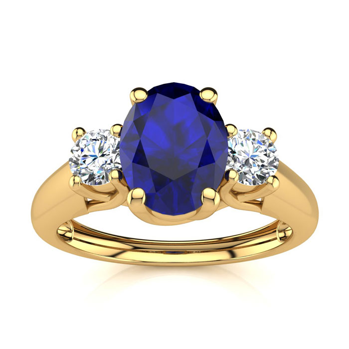 1 1/5 Carat Oval Shape Sapphire & Two Diamond Ring in 14K Yellow