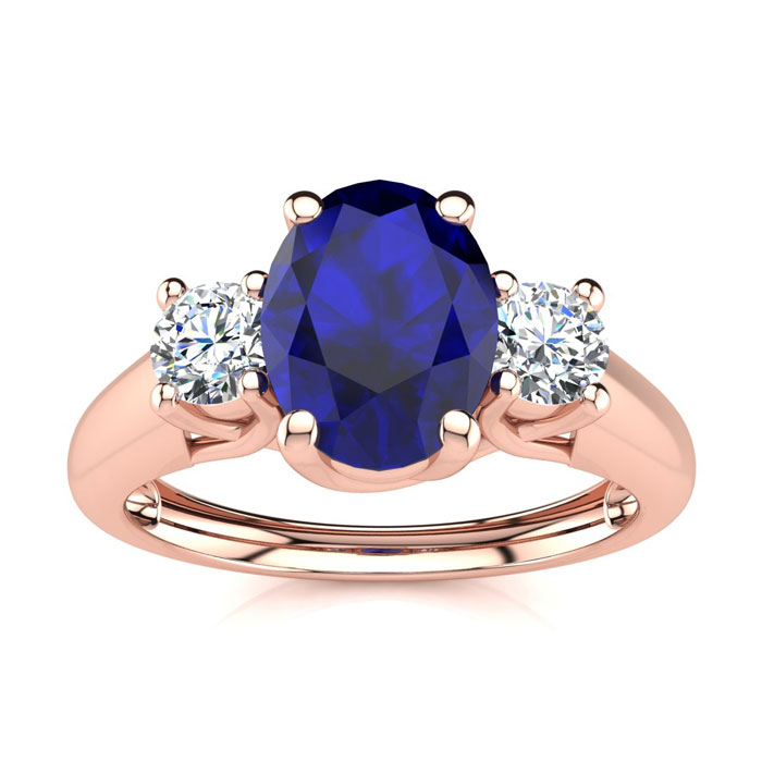 1 1/5 Carat Oval Shape Sapphire & Two Diamond Ring in 14K Rose Go
