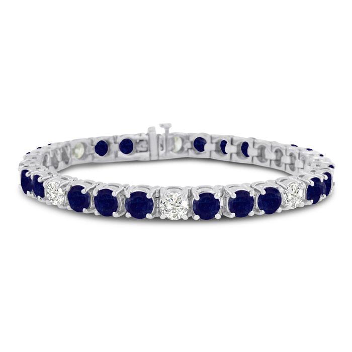 16ct Sapphire and Diamond Bracelet in 14k White Gold