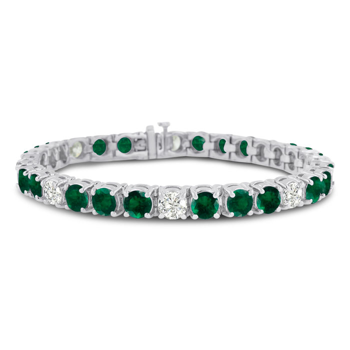 16ct Emerald and Diamond Bracelet in 14k White Gold