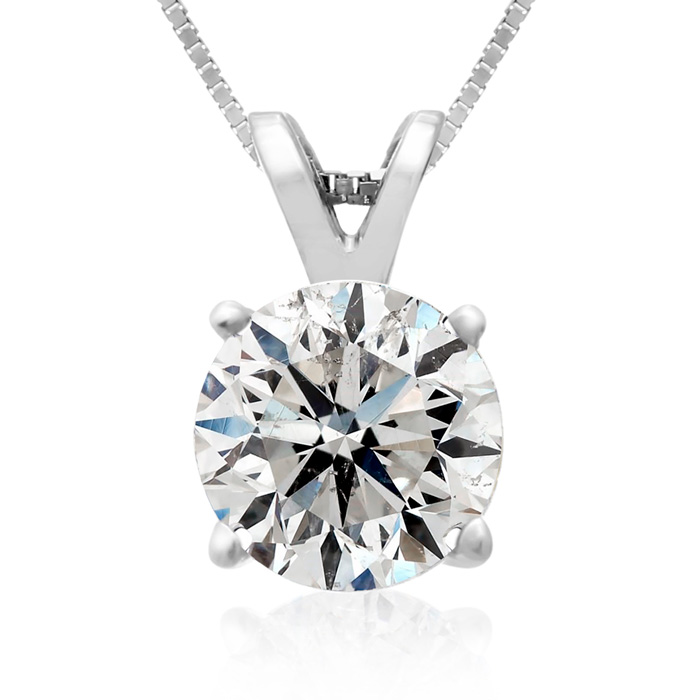 2 Carat Diamond Pendant Necklace in 14k White Gold, H/I, 18 Inch
