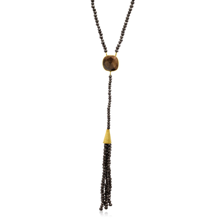 80 Carat Pyrite Tassel Necklace in 14K Yellow Gold Over Sterling Silver, 36 Inches by Sundar Gem