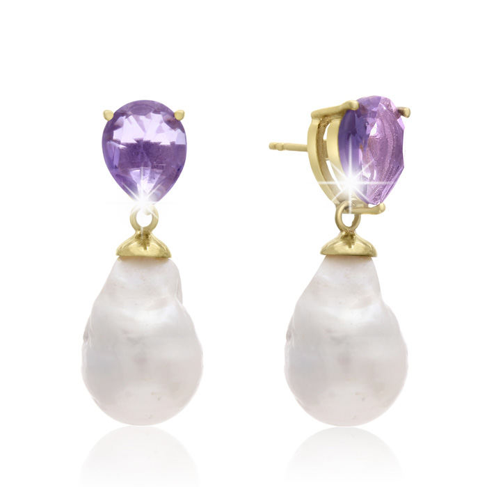 64 Carat Pear Shape Amethyst and Baroque Pearl Dangle Earrings In 14K Yellow Gold Over Sterling Silver