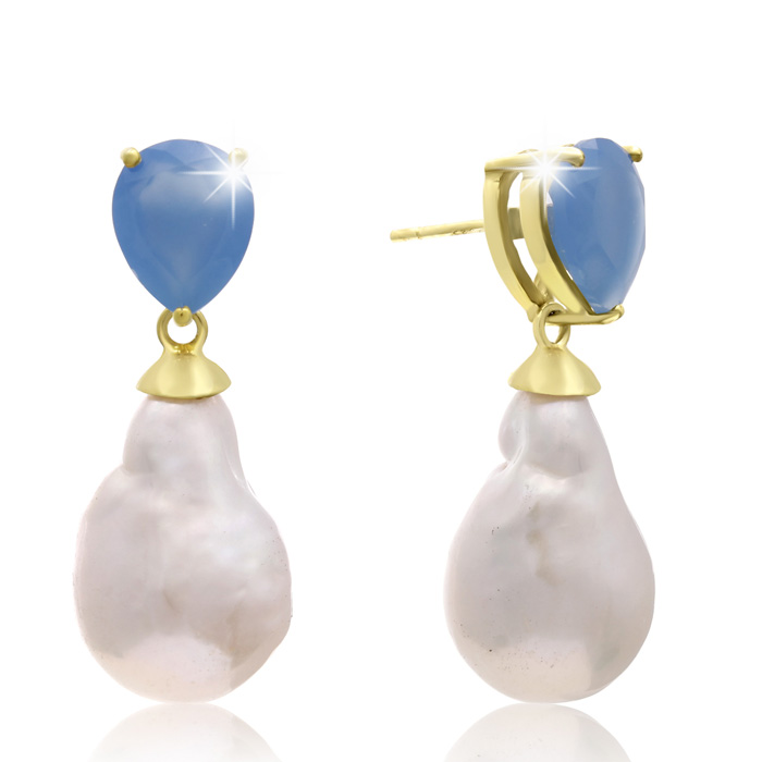 64 Carat Pear Shape Blue Chalcedony & Baroque Pearl Dangle Earrin