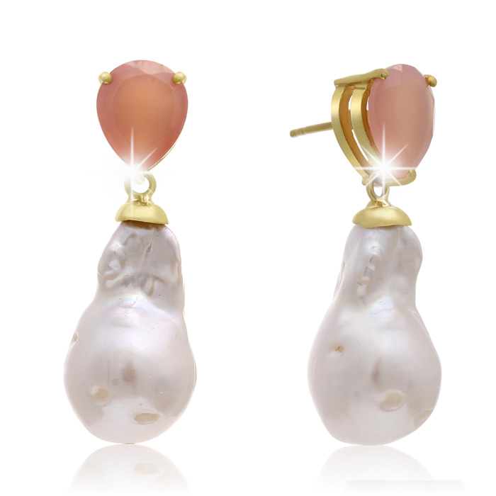 64 Carat Pear Shape Rose Quartz & Baroque Pearl Dangle Earrings i