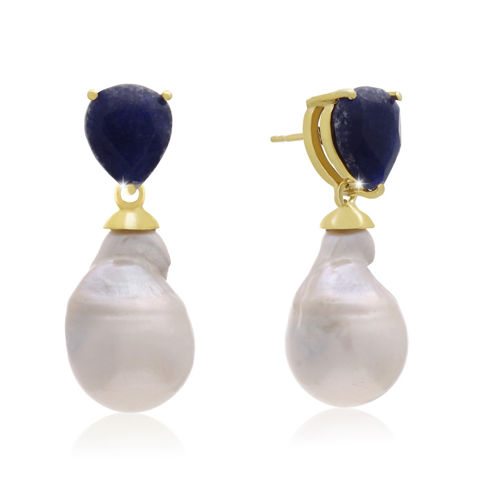 64 Carat Pear Shape Blue Sapphire & Baroque Pearl Dangle Earrings
