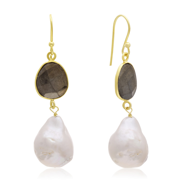 64 Carat Pyrite & Baroque Pearl Dangle Earrings in 14K Yellow Gol