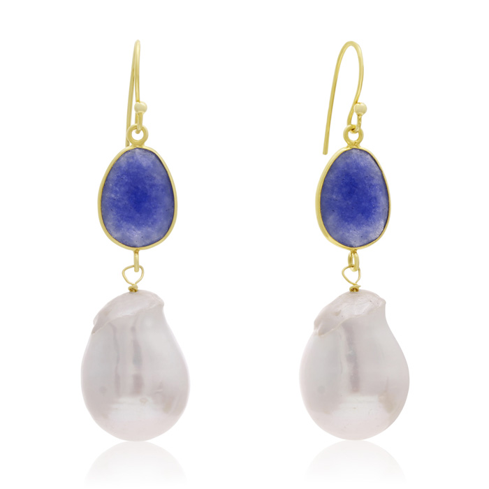 64 Carat Sapphire and Baroque Pearl Dangle Earrings In 14K Yellow Gold Over Sterling Silver