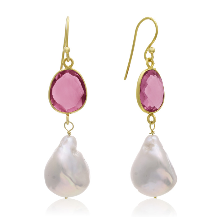 64 Carat Raspberry Quartz and Baroque Pearl Dangle Earrings In 14K Yellow Gold Over Sterling Silver
