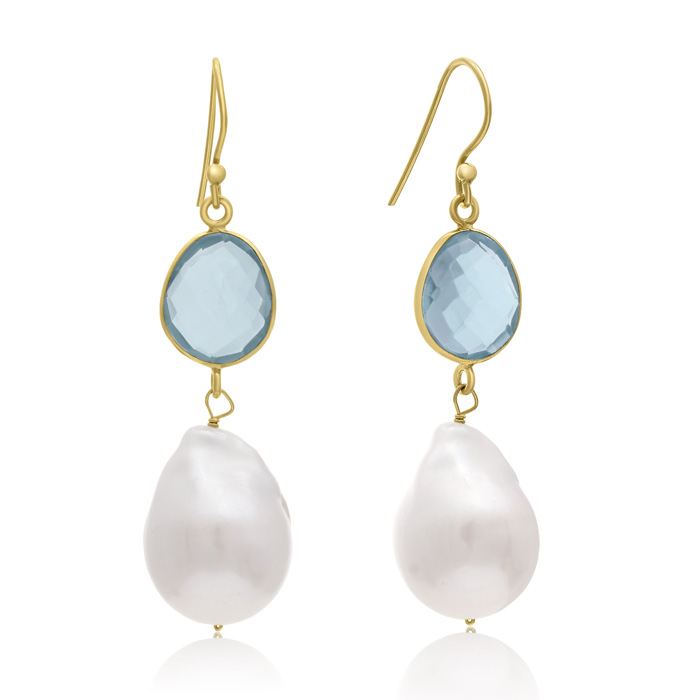 64 Carat Blue Topaz Quartz and Baroque Pearl Dangle Earrings In 14K Yellow Gold Over Sterling Silver