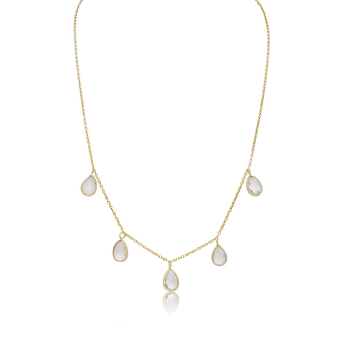 4 Carat Clear Quartz Multi Drop Necklace in 14K Yellow Gold Over