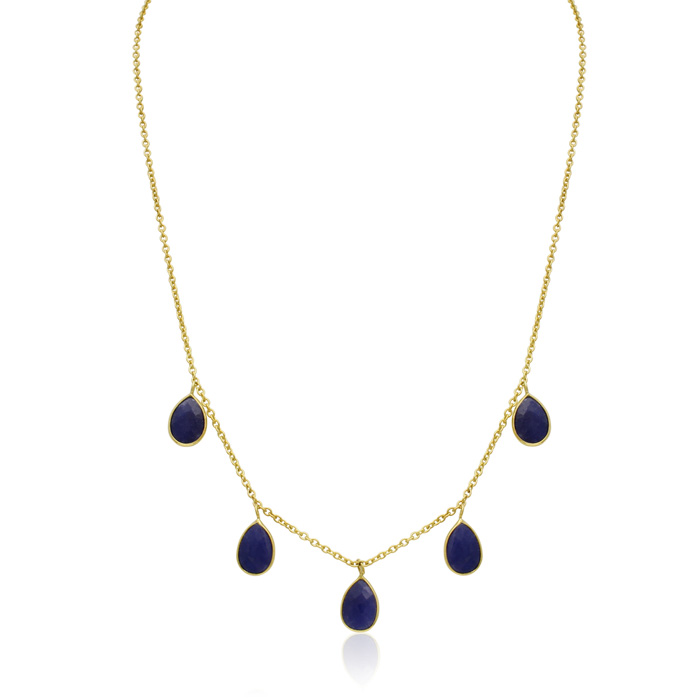 4 Carat Sapphire Multi Drop Necklace in 14K Yellow Gold Over Ster