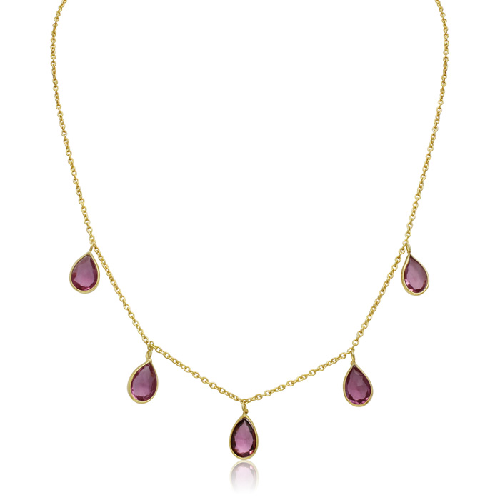 4 Carat Raspberry Quartz Multi Drop Necklace in 14K Yellow Gold O