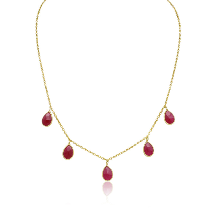 4 Carat Ruby Multi Drop Necklace in 14K Yellow Gold Over Sterling