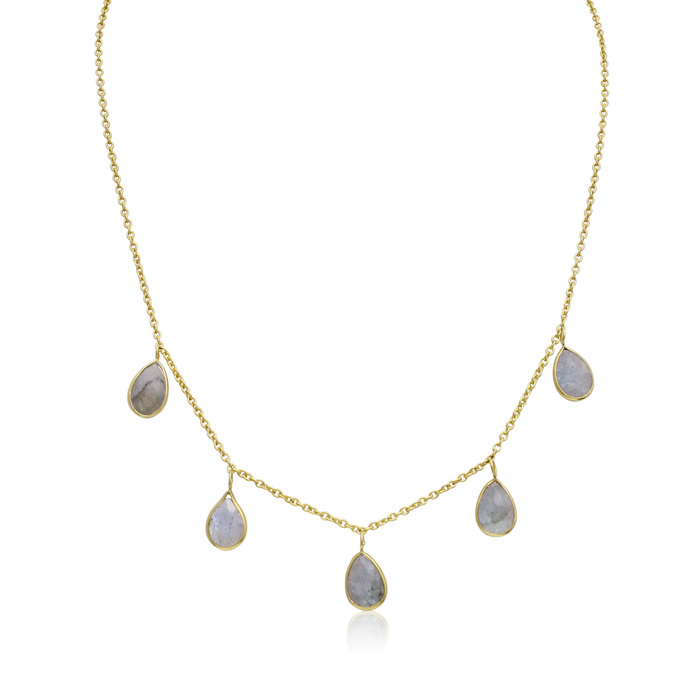 4 Carat Labradorite Multi Drop Necklace in 14K Yellow Gold Over S