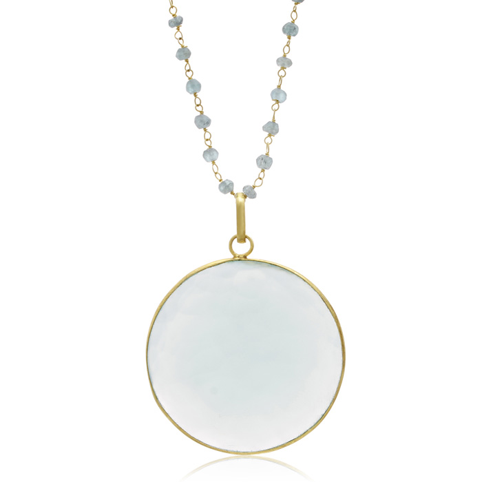 67 Carat Green Chalcedony Disc Necklace in 14K Yellow Gold Over S