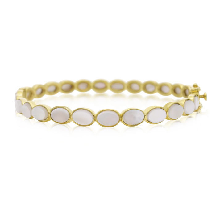 30 Carat Mother Of Pearl Bangle Bracelet in 14K Yellow Gold Over