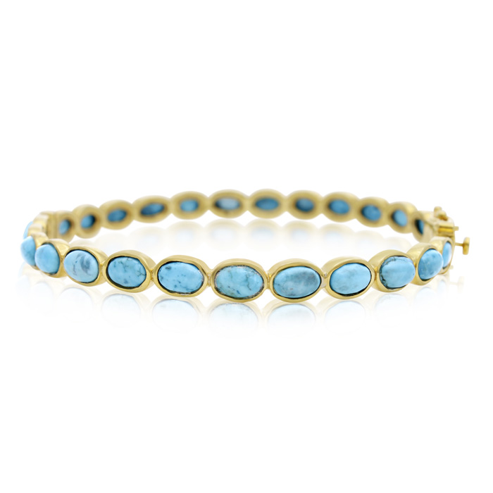 30 Carat Turquoise Bangle Bracelet in 14K Yellow Gold Over Sterli