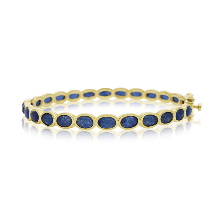30 Carat Blue Sapphire Bangle Bracelet in 14K Yellow Gold Over St