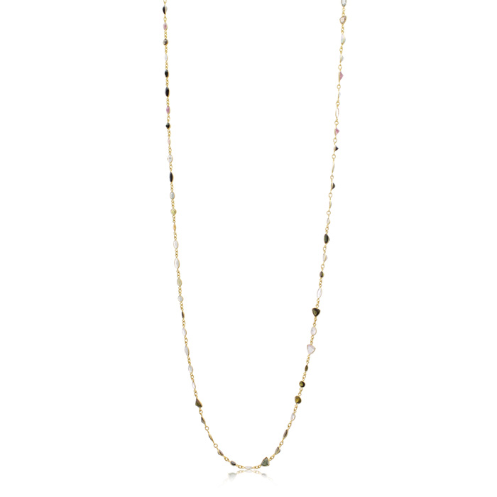 58 Carat Multi Color Tourmaline Gemstone Necklace In 14K Yellow Gold Over Sterling Silver, 34 Inches