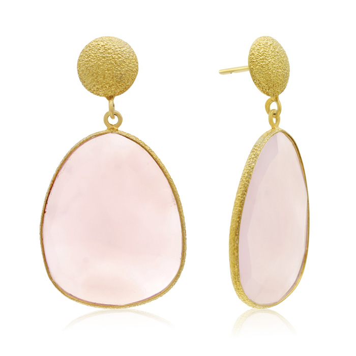 36 Carat Free Form Rose Quartz Earrings in 14K Yellow Gold Over S