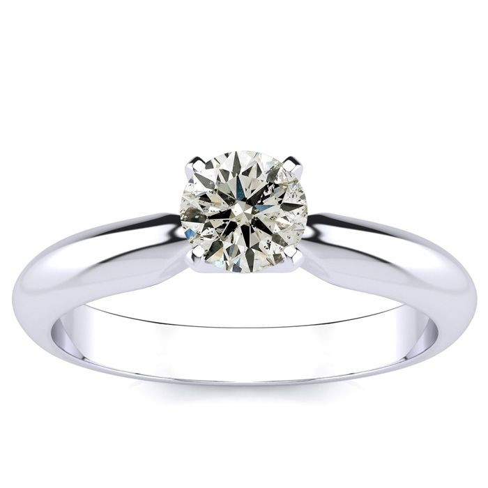 1/2 Carat Diamond Engagement Ring in White Gold (2.2 Grams) (J-K, I2 Clarity Enhanced) by SuperJeweler