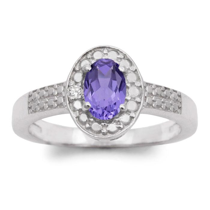 1/2 Carat Oval Shape Tanzanite & Halo Diamond Ring in Sterling Si