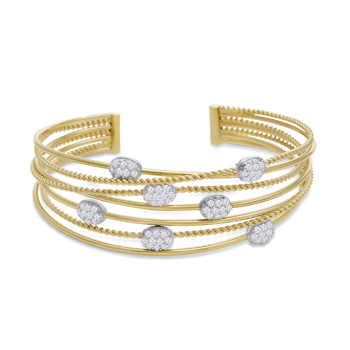 14K Yellow Gold (22 g) 1.5 Carat Pave Diamond Cuff Bangle Bracele