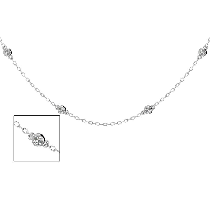 14K White Gold (3.1 g) 1/2 Carat Diamonds By The Yard Necklace, H