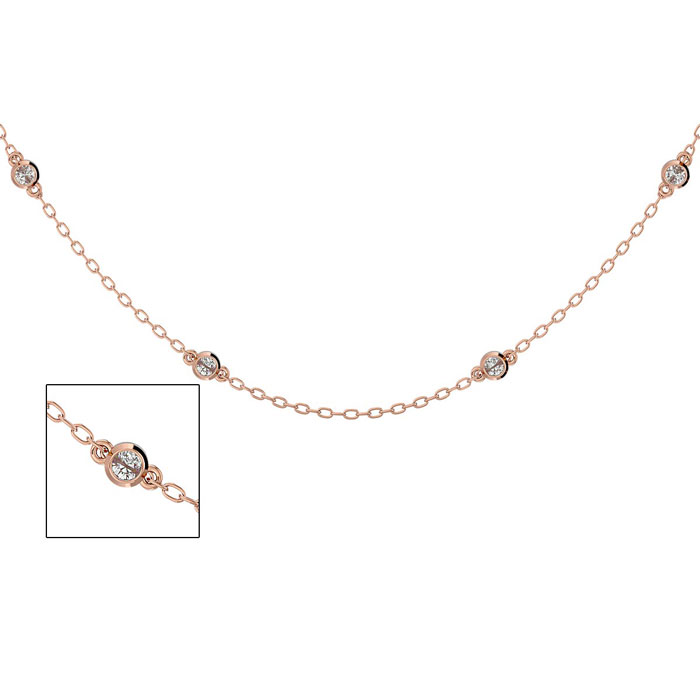 14K Rose Gold (3.1 g) 1/2 Carat Diamonds By The Yard Necklace, H/